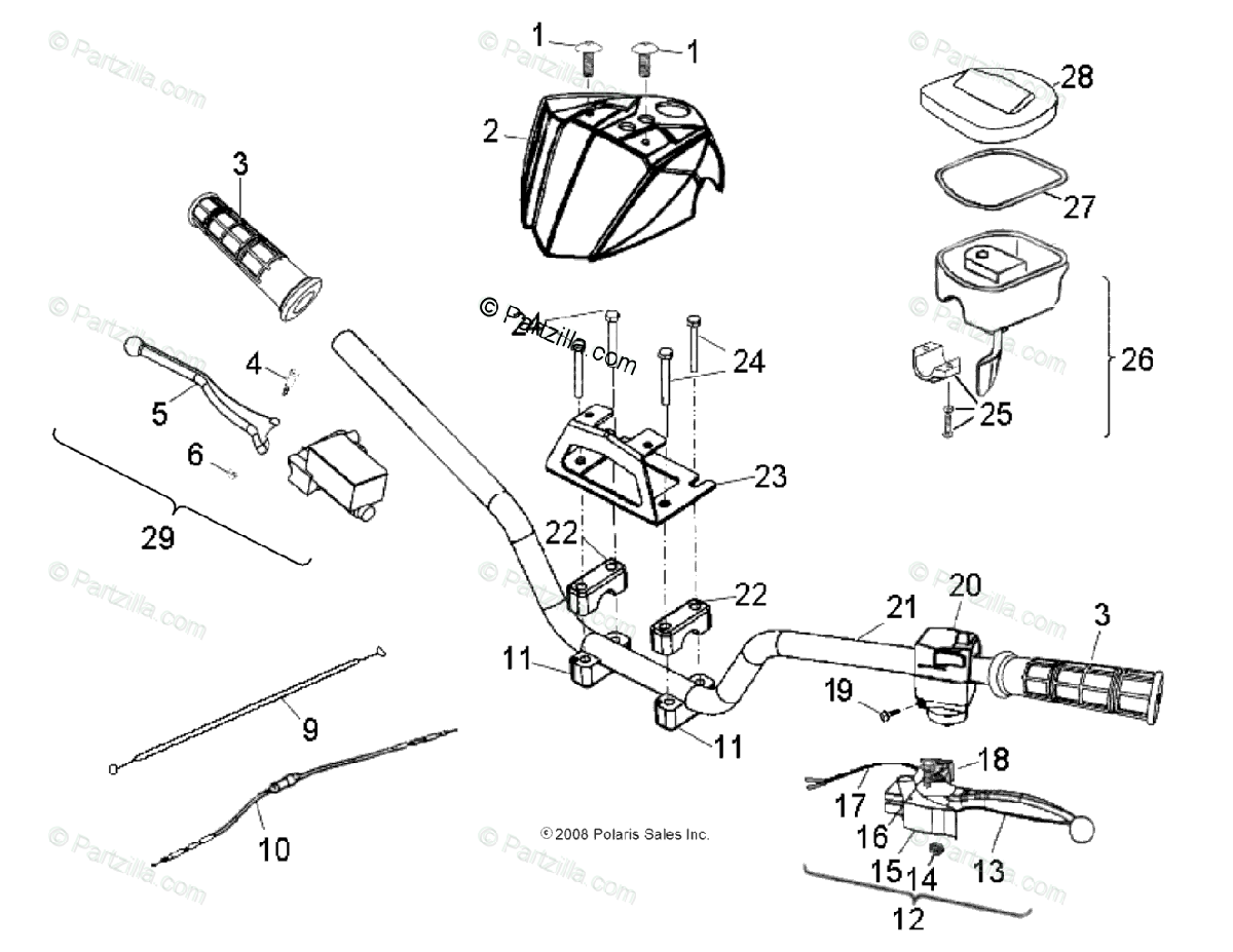Polaris ATV 2009 OEM Parts Diagram for Steering, Handlebar