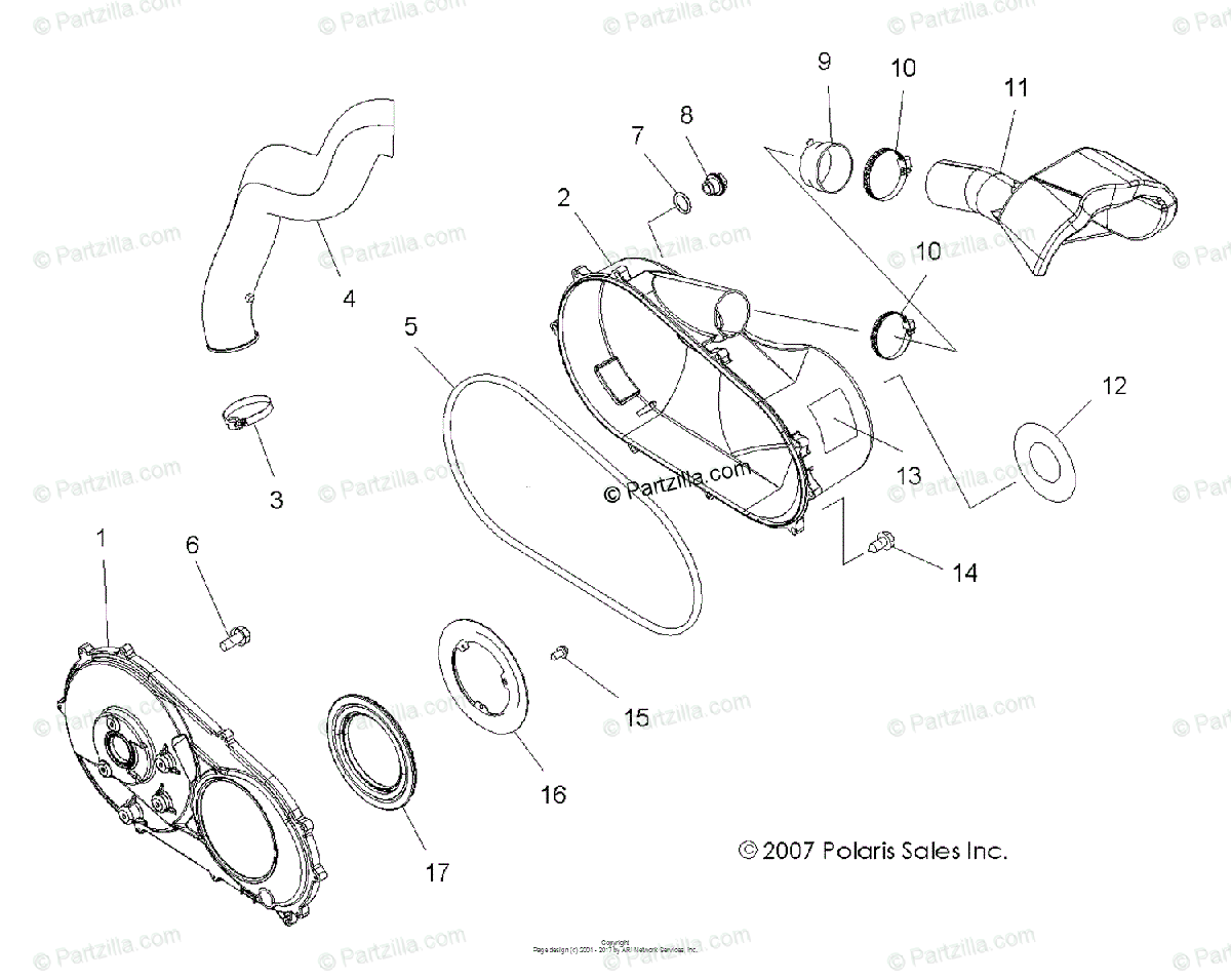 Polaris ATV 2014 OEM Parts Diagram for Body, Clutch Cover