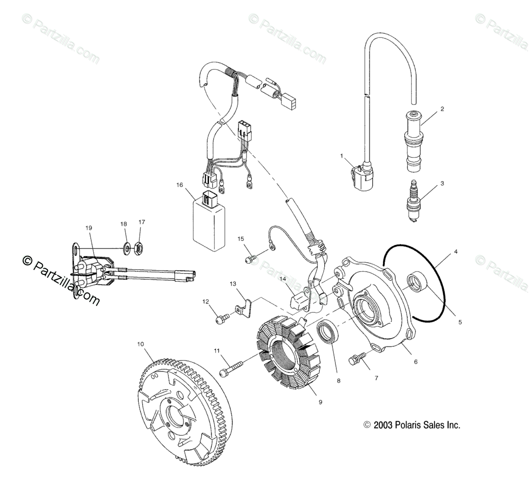 Polaris ATV 2005 OEM Parts Diagram for Magneto /Ac/Ag/Ah