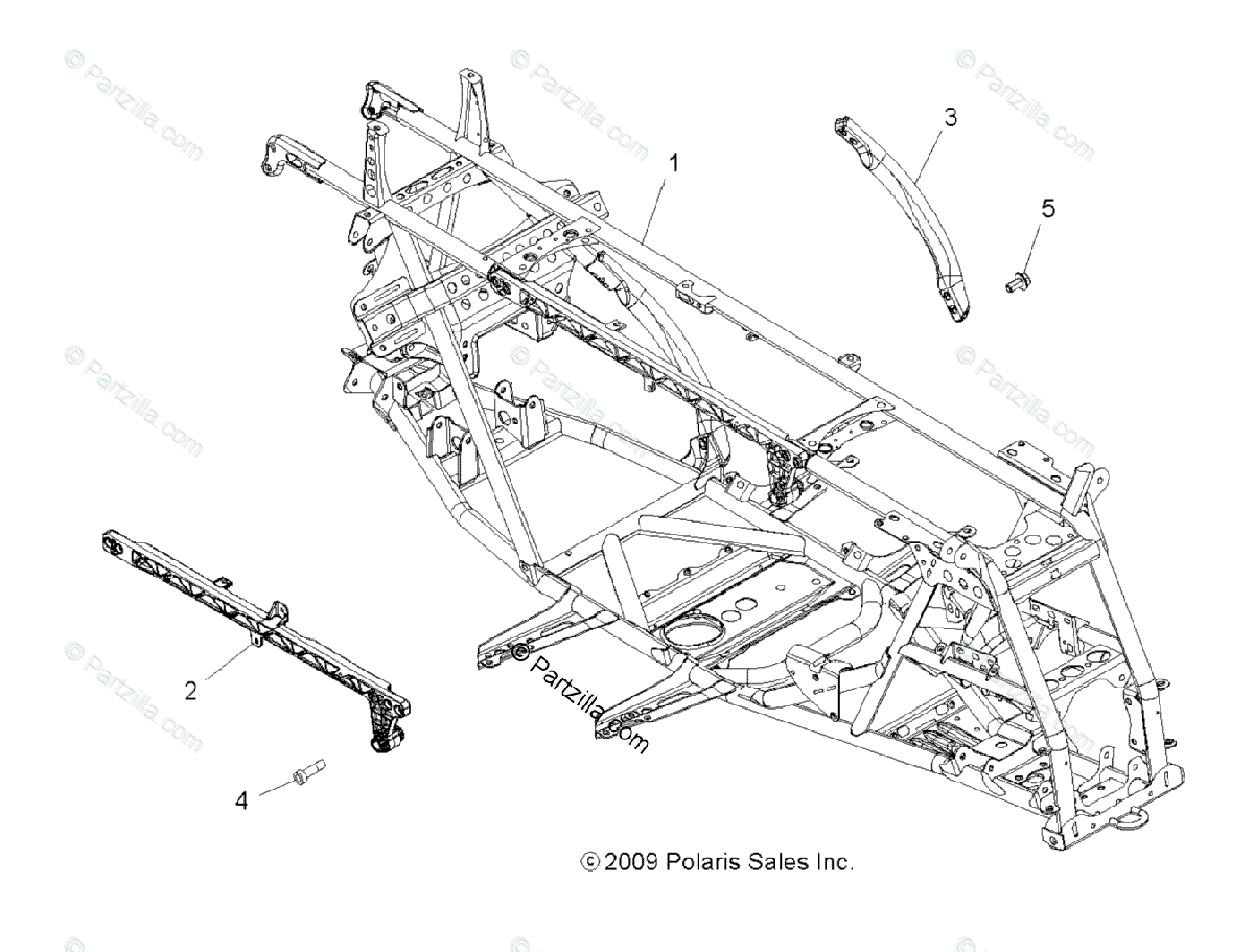 Polaris ATV 2010 OEM Parts Diagram for Chassis & Main