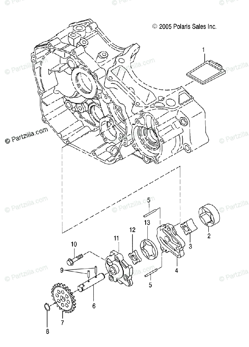 Polaris ATV 2006 OEM Parts Diagram for Oil Pump /Ab/Ac