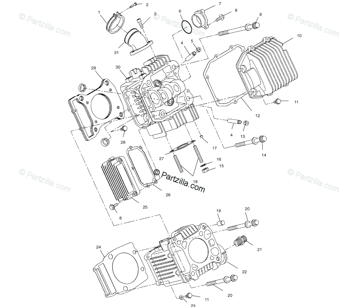 Polaris ATV 2000 OEM Parts Diagram for Cylinder A00ch33ac