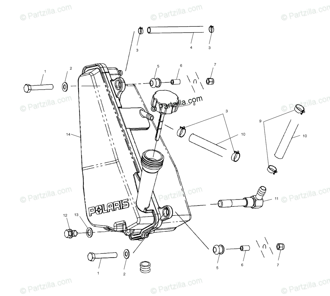 Polaris ATV 2002 OEM Parts Diagram for Oil Tank A02ch42aa