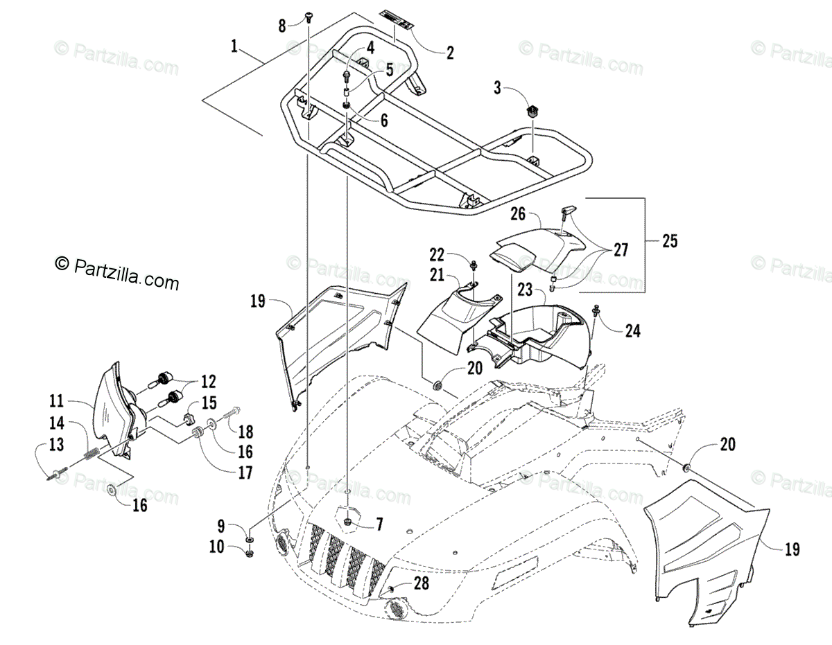 Arctic Cat ATV 2008 OEM Parts Diagram for FRONT RACK AND