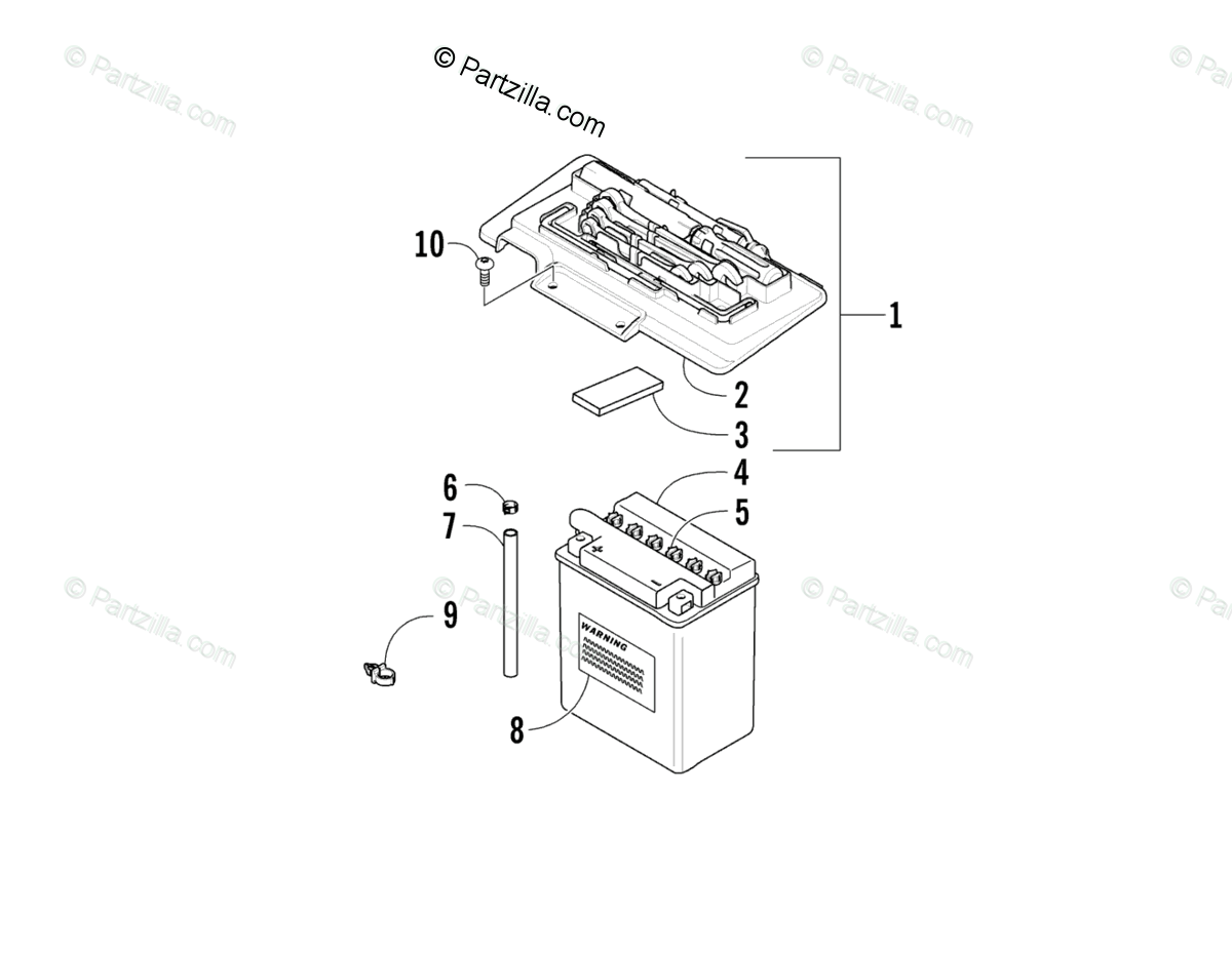 Arctic Cat ATV 2007 OEM Parts Diagram for Battery Assembly