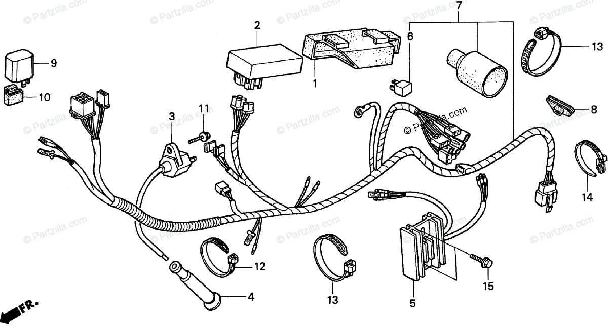 Honda Motorcycle 1991 OEM Parts Diagram for Wire Harness