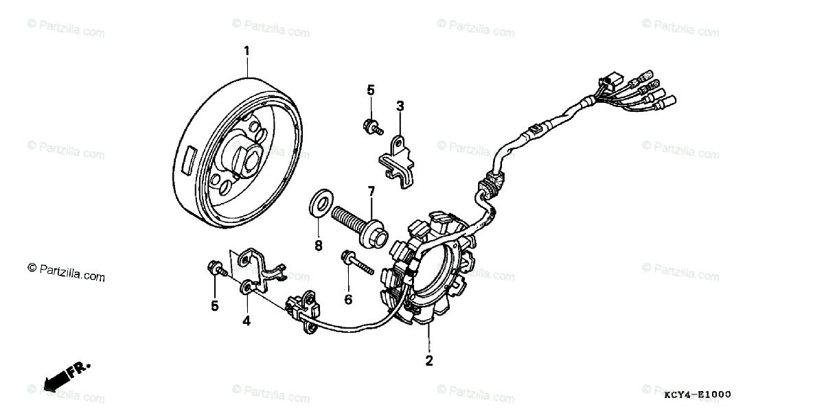 Honda Motorcycle 2000 OEM Parts Diagram for Alternator