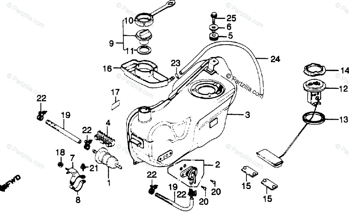 Honda Motorcycle 1981 OEM Parts Diagram for Fuel Tank