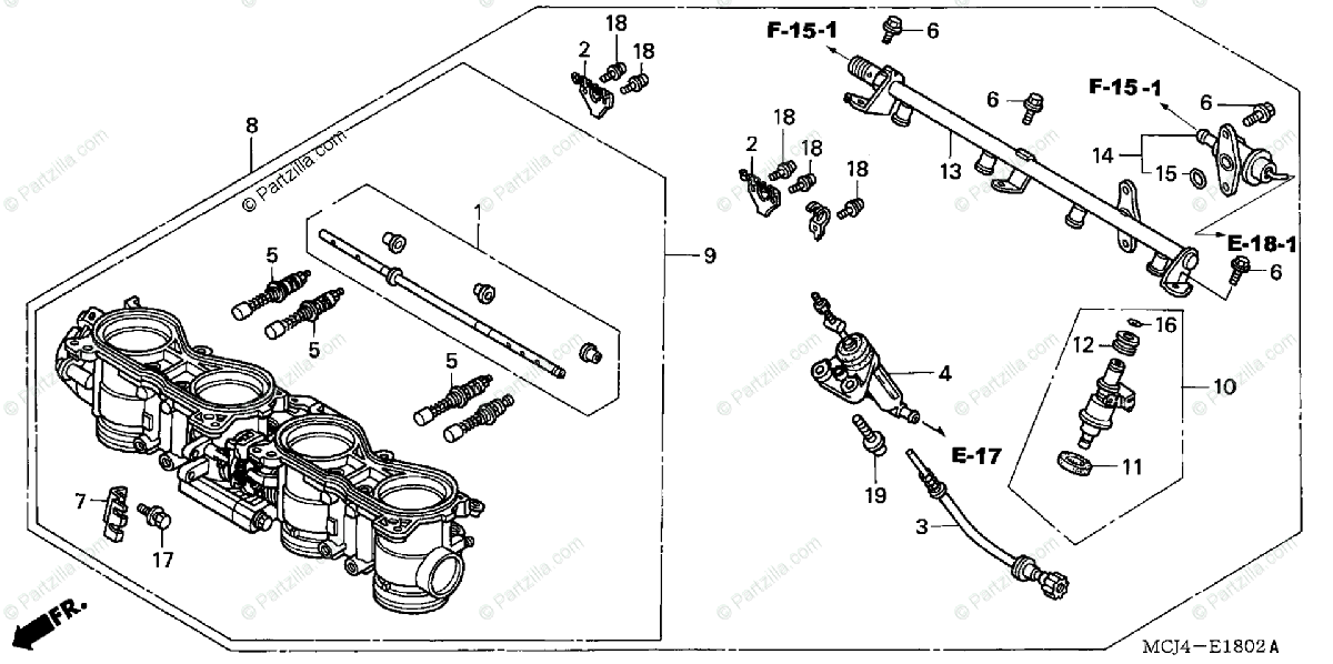 Honda Motorcycle 2002 OEM Parts Diagram for Throttle Body