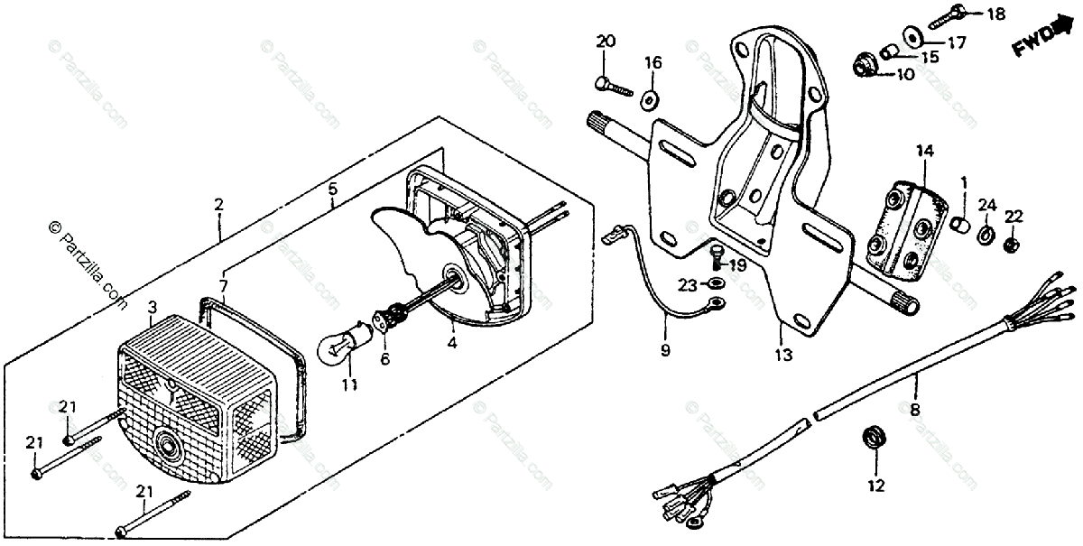 Honda Motorcycle 1979 OEM Parts Diagram for Taillight