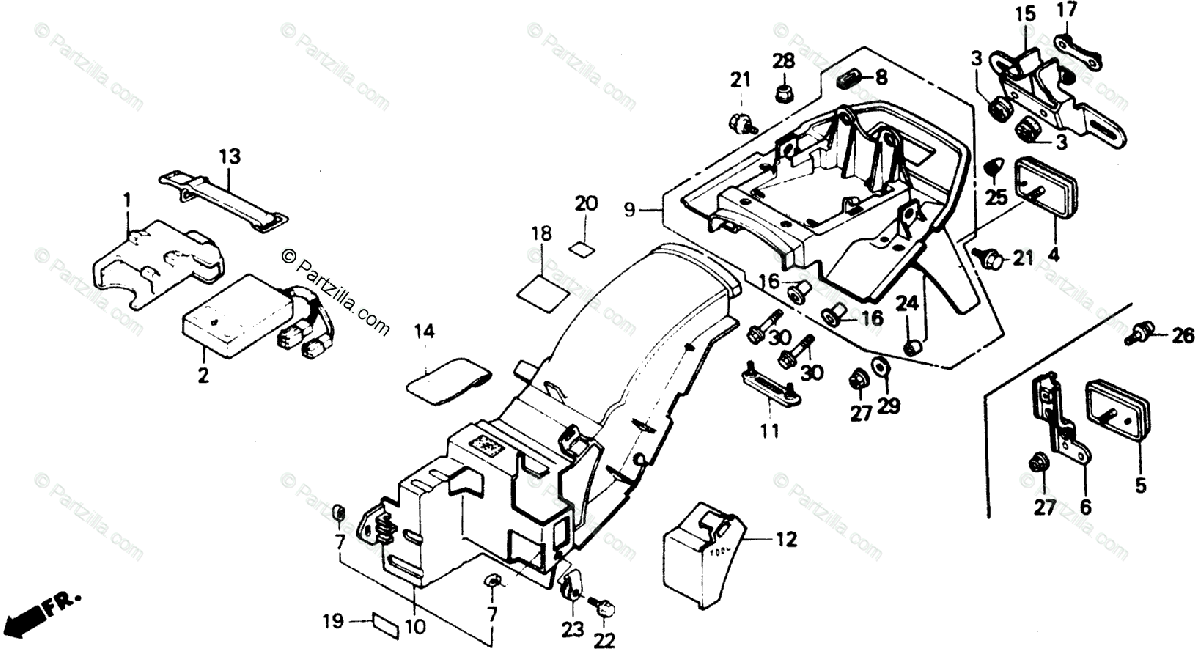 Honda Motorcycle 1988 OEM Parts Diagram for Rear Fender