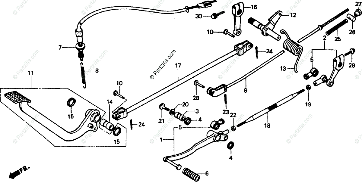 Honda Motorcycle 1987 OEM Parts Diagram for Pedal