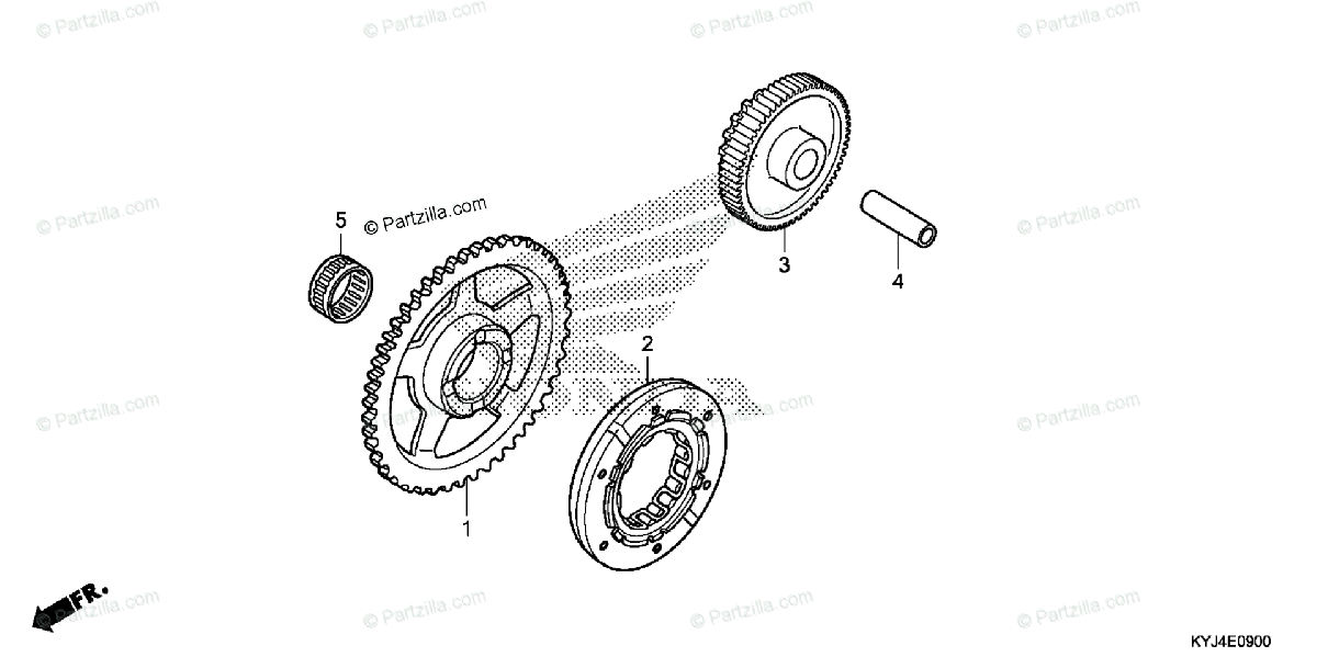 Honda Motorcycle 2011 OEM Parts Diagram for Starting
