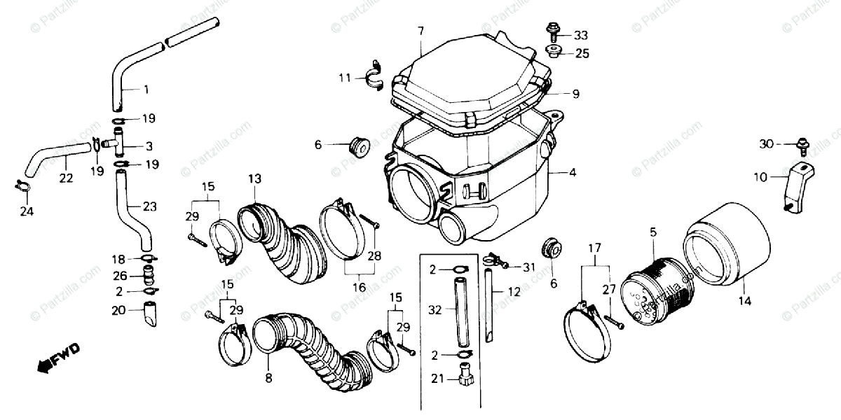 Honda ATV 1986 OEM Parts Diagram for Air Cleaner