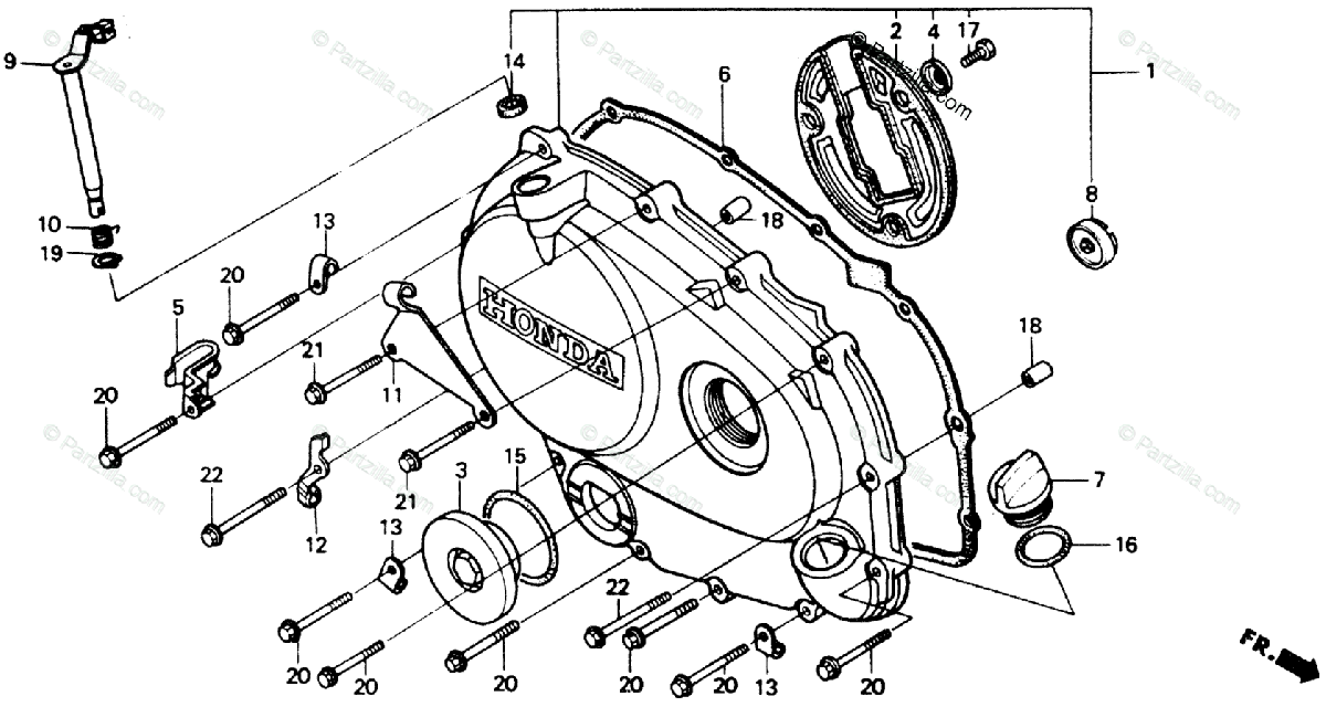 Honda Motorcycle 1989 OEM Parts Diagram for Right