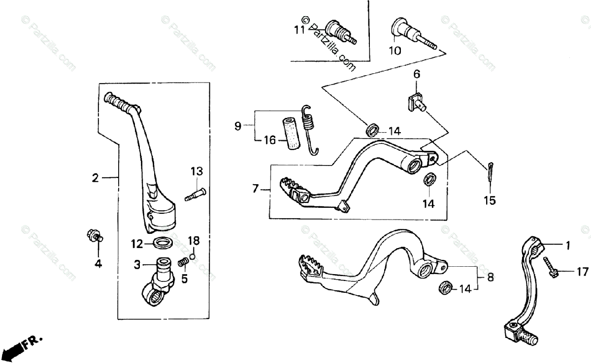 Honda Motorcycle 1990 OEM Parts Diagram for Pedal
