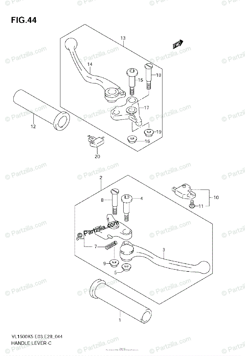 Suzuki Motorcycle 2005 OEM Parts Diagram for HANDLE LEVER