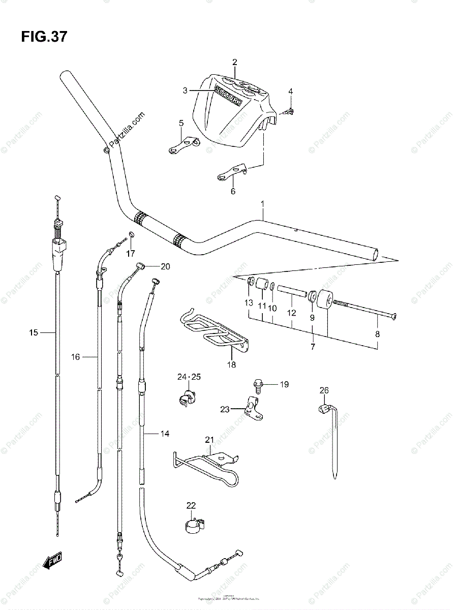 Suzuki ATV 2003 OEM Parts Diagram for HANDLEBAR (MODEL K3