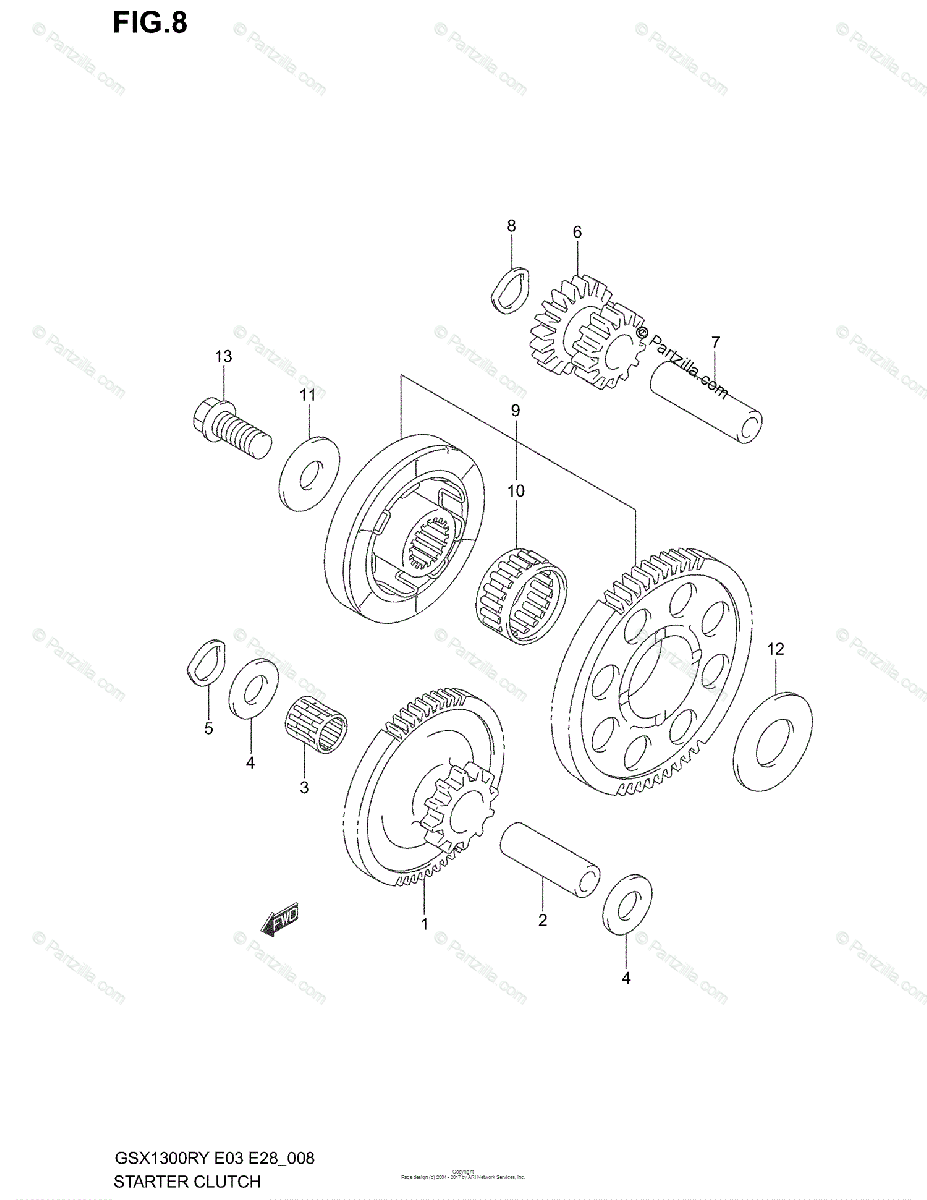 Suzuki Motorcycle 2003 OEM Parts Diagram for STARTER