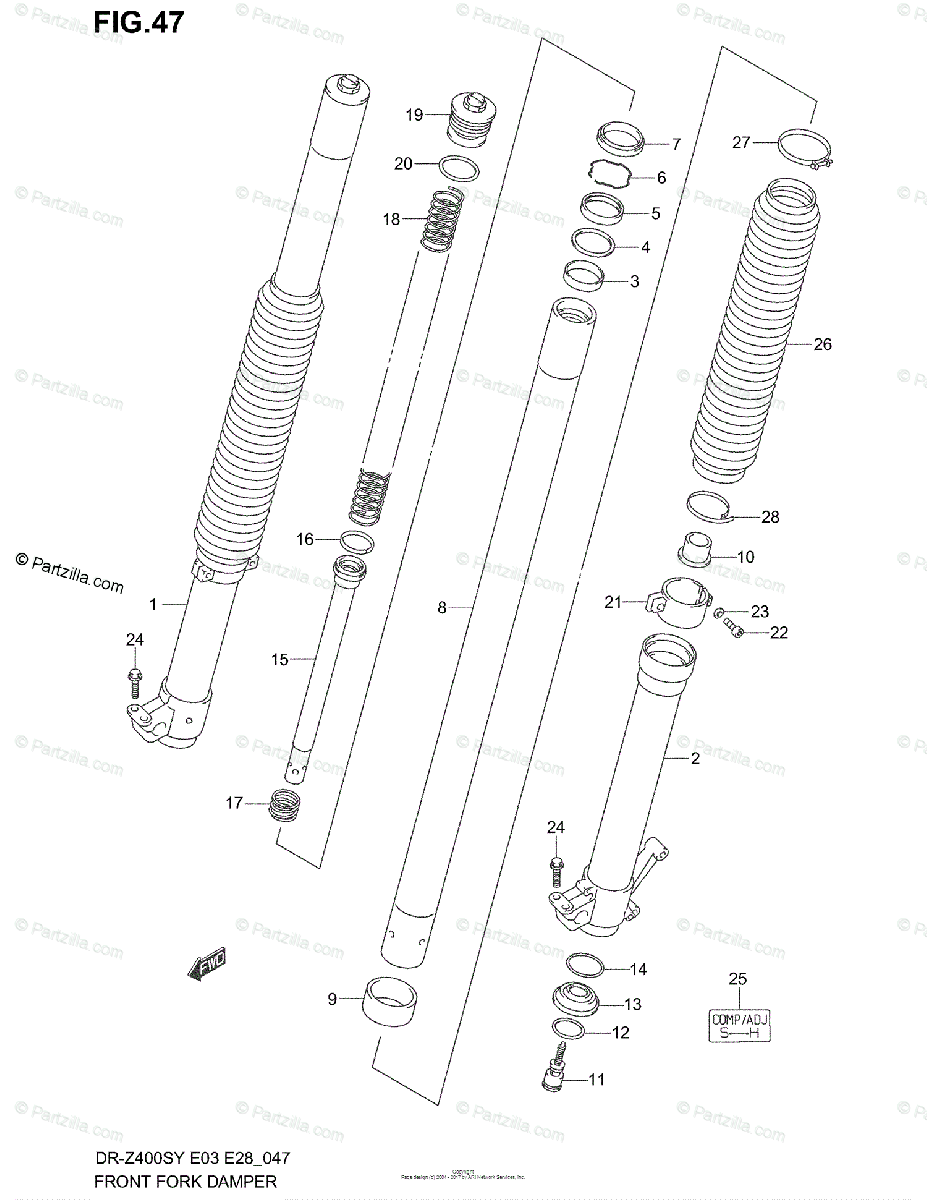 Suzuki Motorcycle 2000 OEM Parts Diagram for FRONT FORK