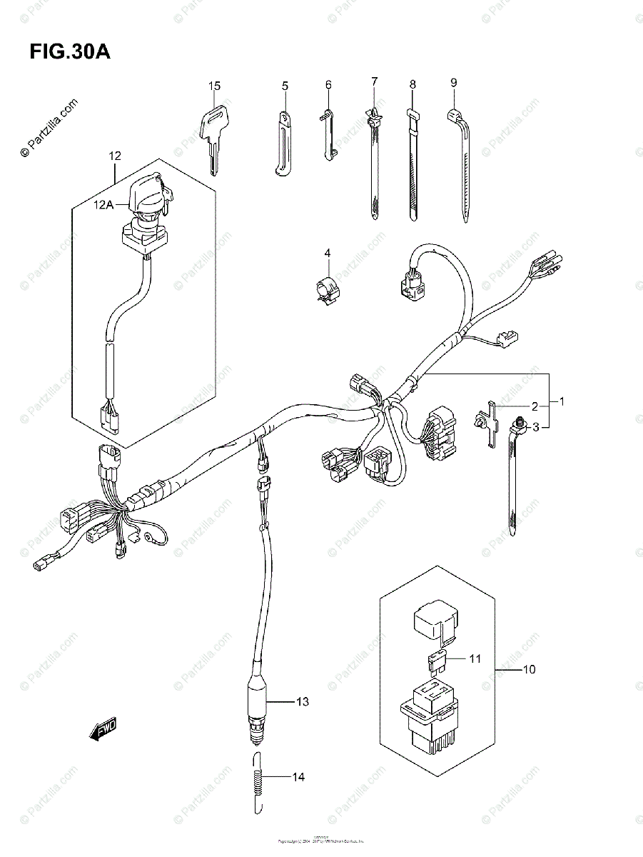 Suzuki ATV 2004 OEM Parts Diagram for WIRING HARNESS