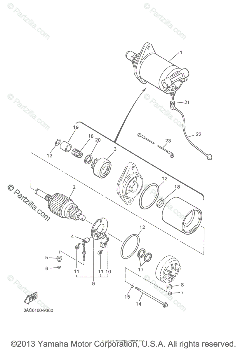 Yamaha Snowmobile 2003 OEM Parts Diagram for Starting