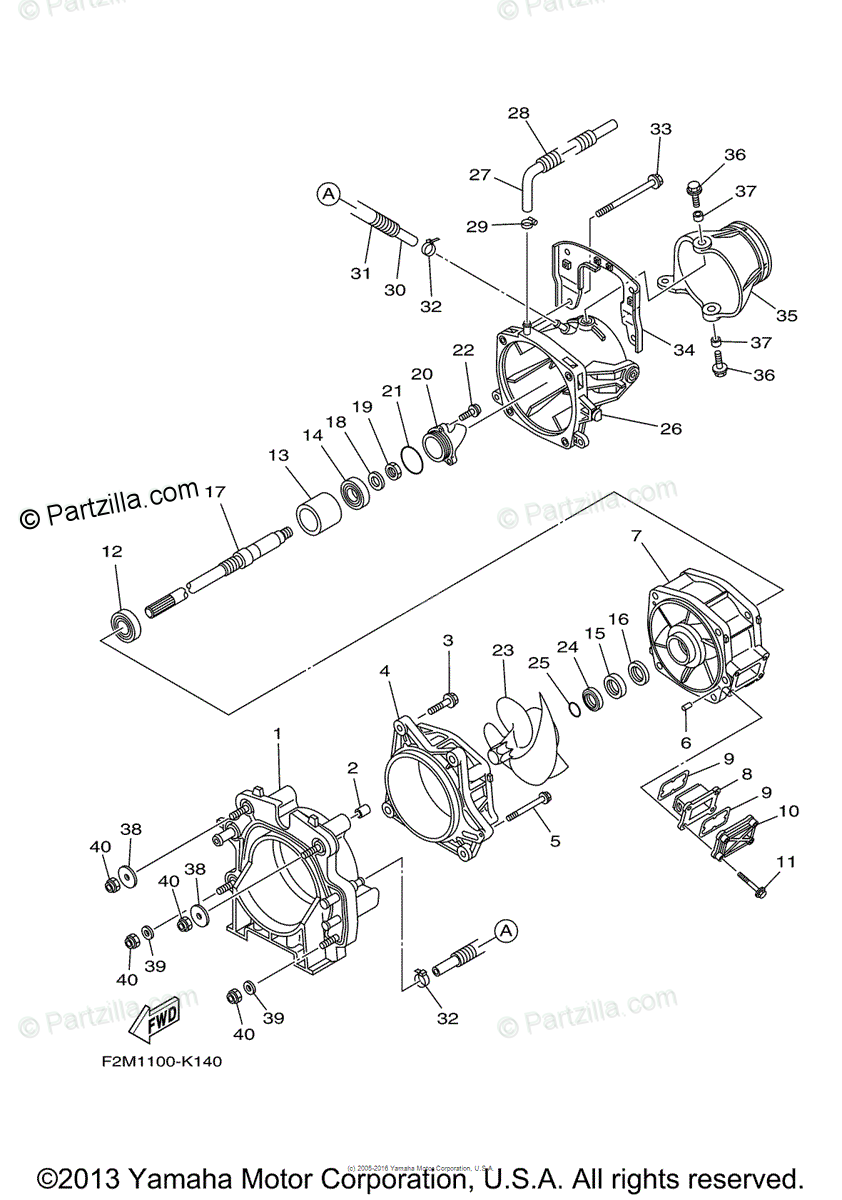 Yamaha Waverunner 2011 OEM Parts Diagram for Jet Unit 1