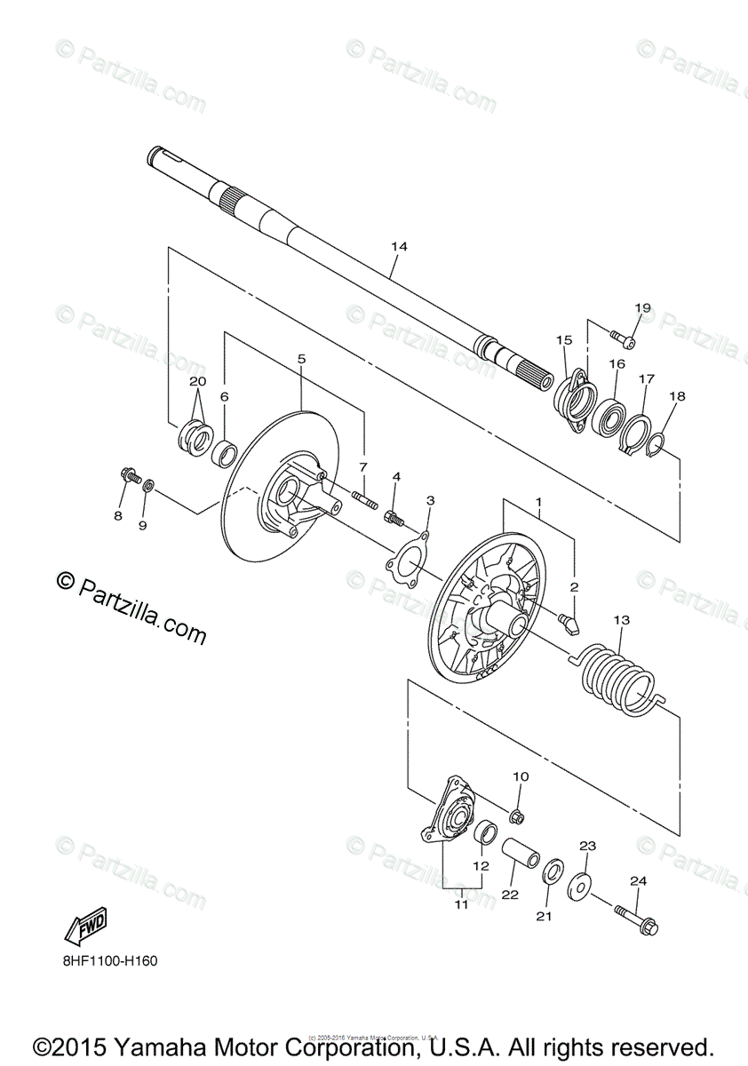 Yamaha Snowmobile 2012 OEM Parts Diagram for Secondary