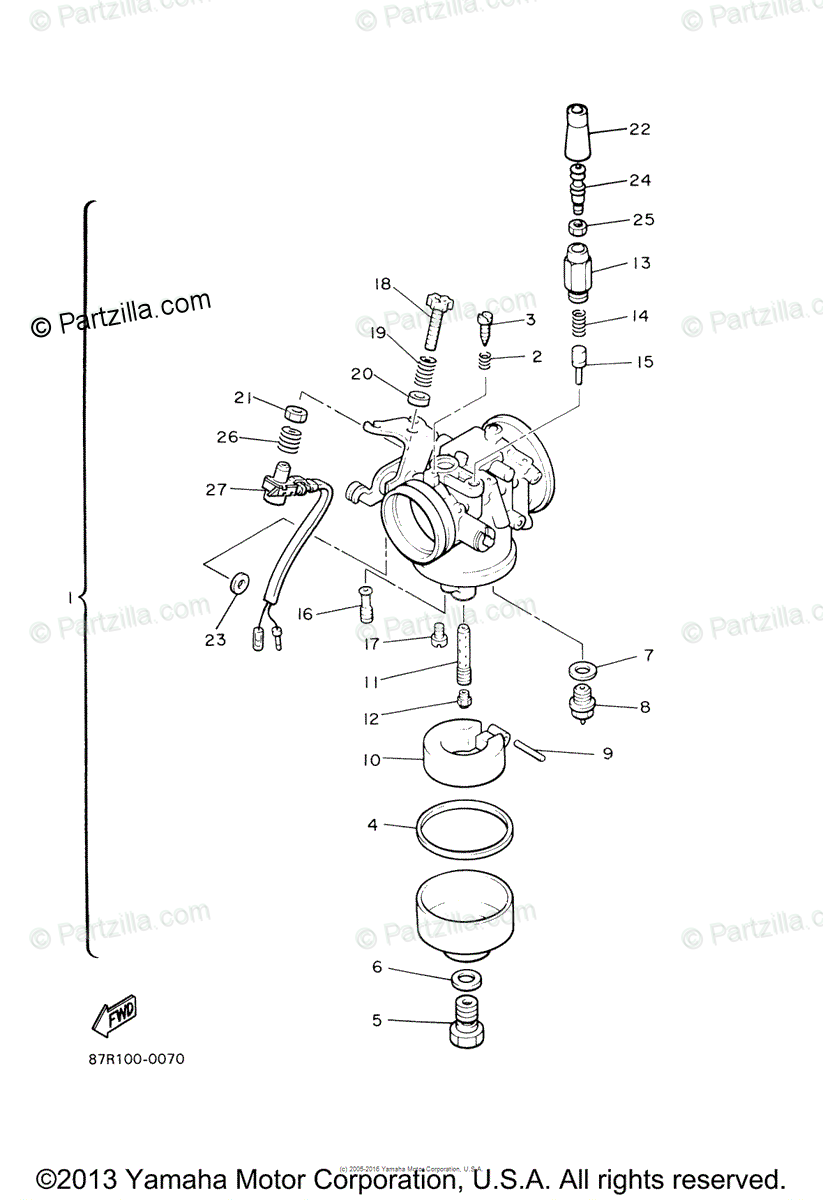 Yamaha Snowmobile 2005 OEM Parts Diagram for Carburetor