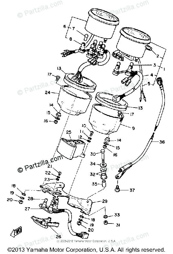 Yamaha Motorcycle 1980 OEM Parts Diagram for Speedometer