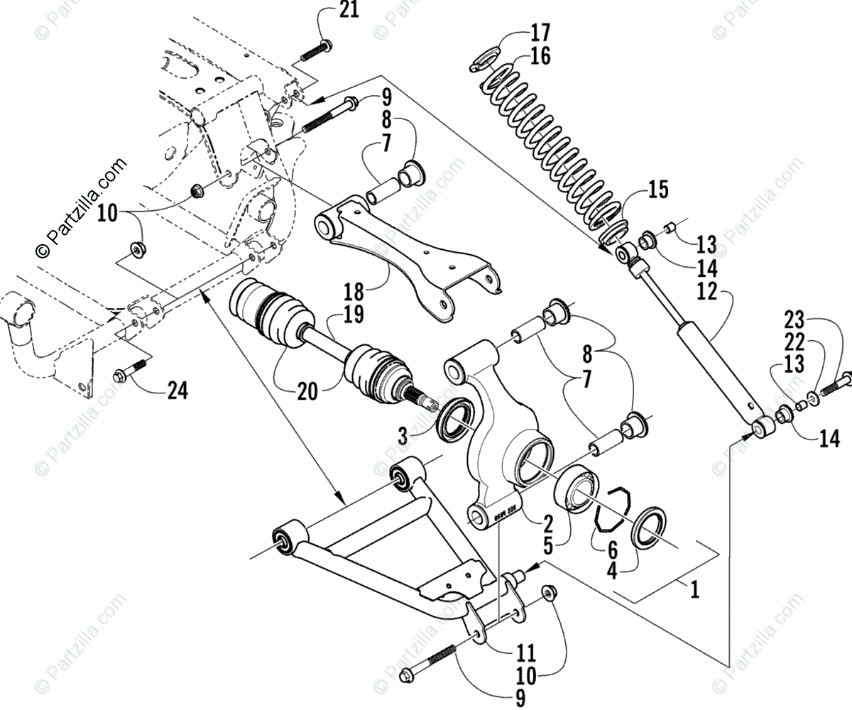 Arctic Cat ATV 2003 OEM Parts Diagram for Rear Suspension