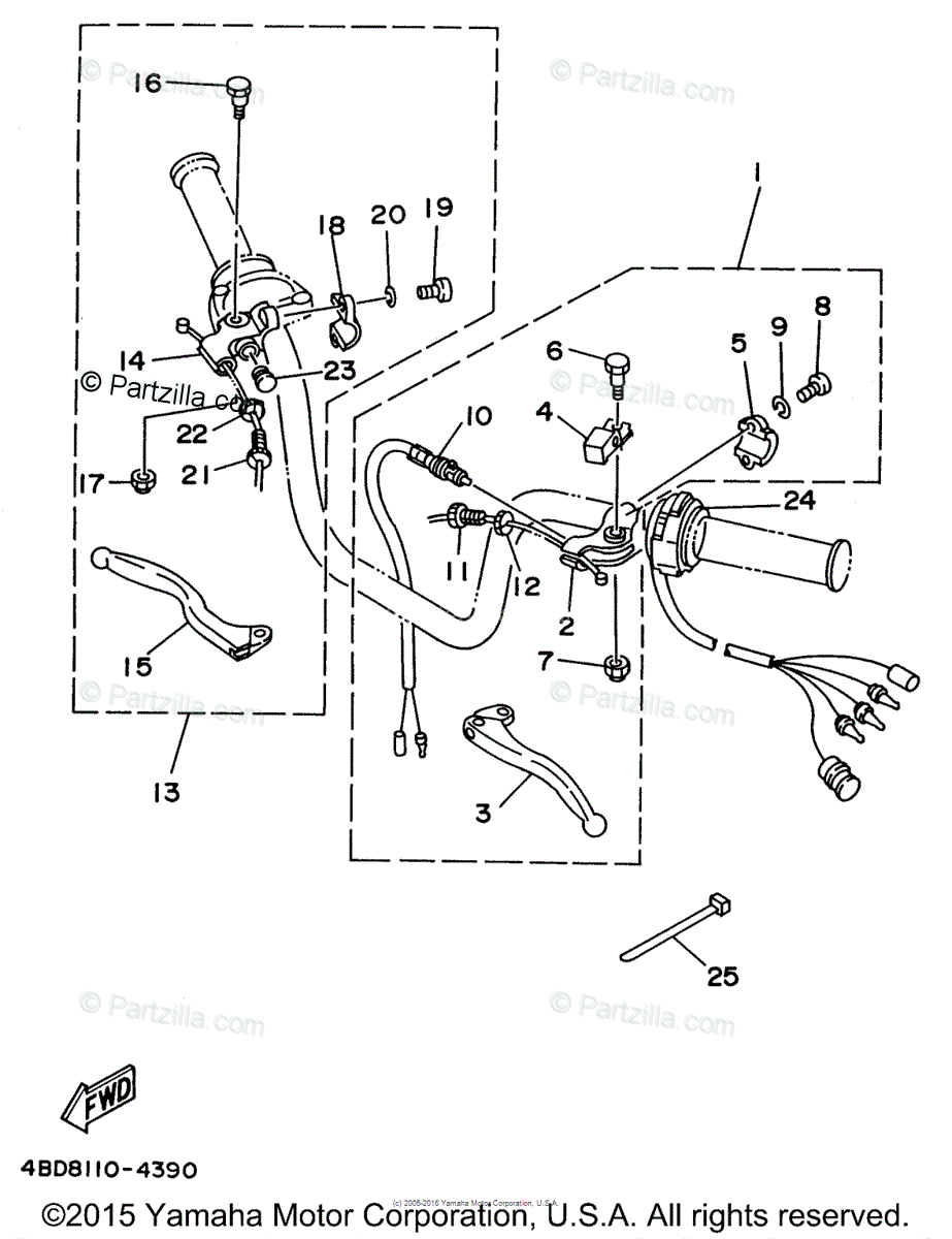 Yamaha ATV 1996 OEM Parts Diagram for Handle Switch-Lever