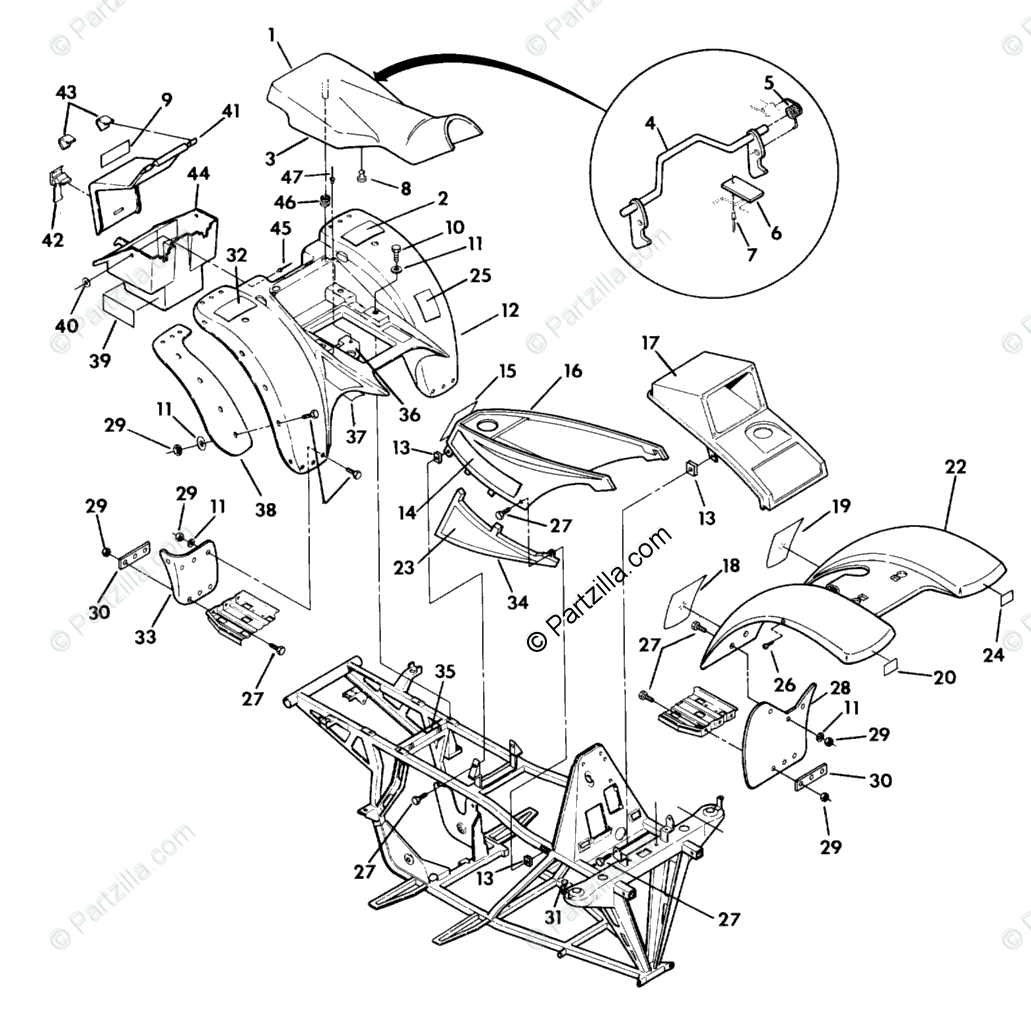 Polaris ATV 1990 OEM Parts Diagram for Body Assembly 350
