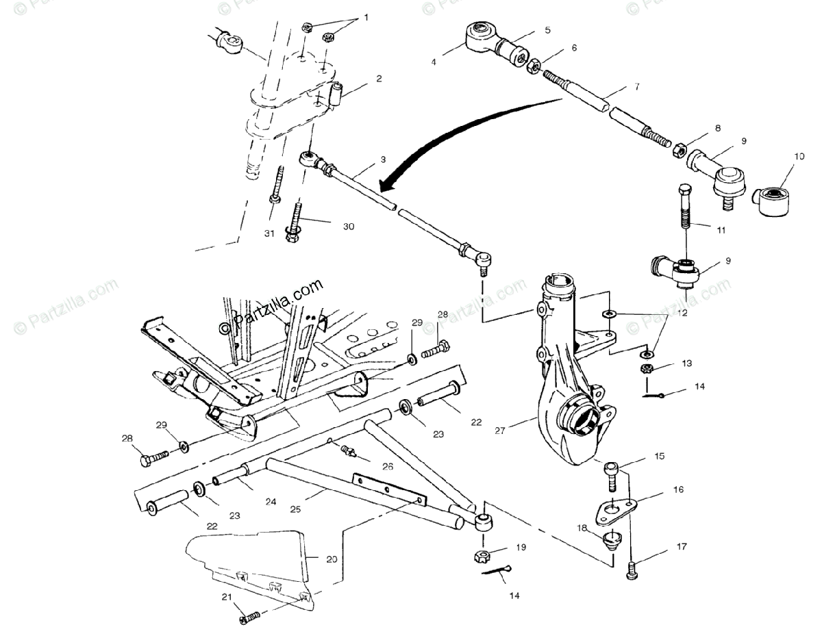 Polaris ATV 2000 OEM Parts Diagram for Aarm/Strut Mounting
