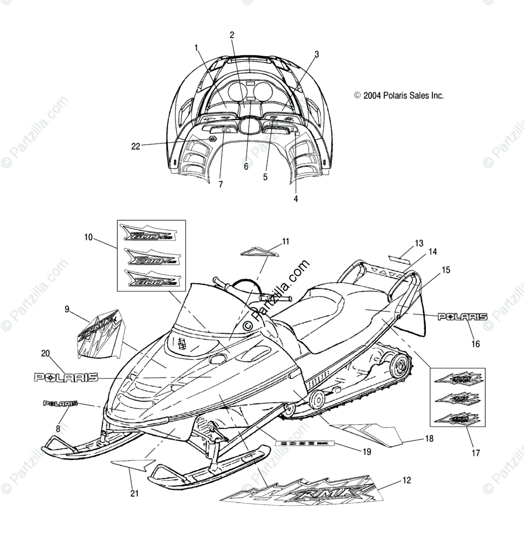 Polaris Snowmobile 2005 OEM Parts Diagram for Decals