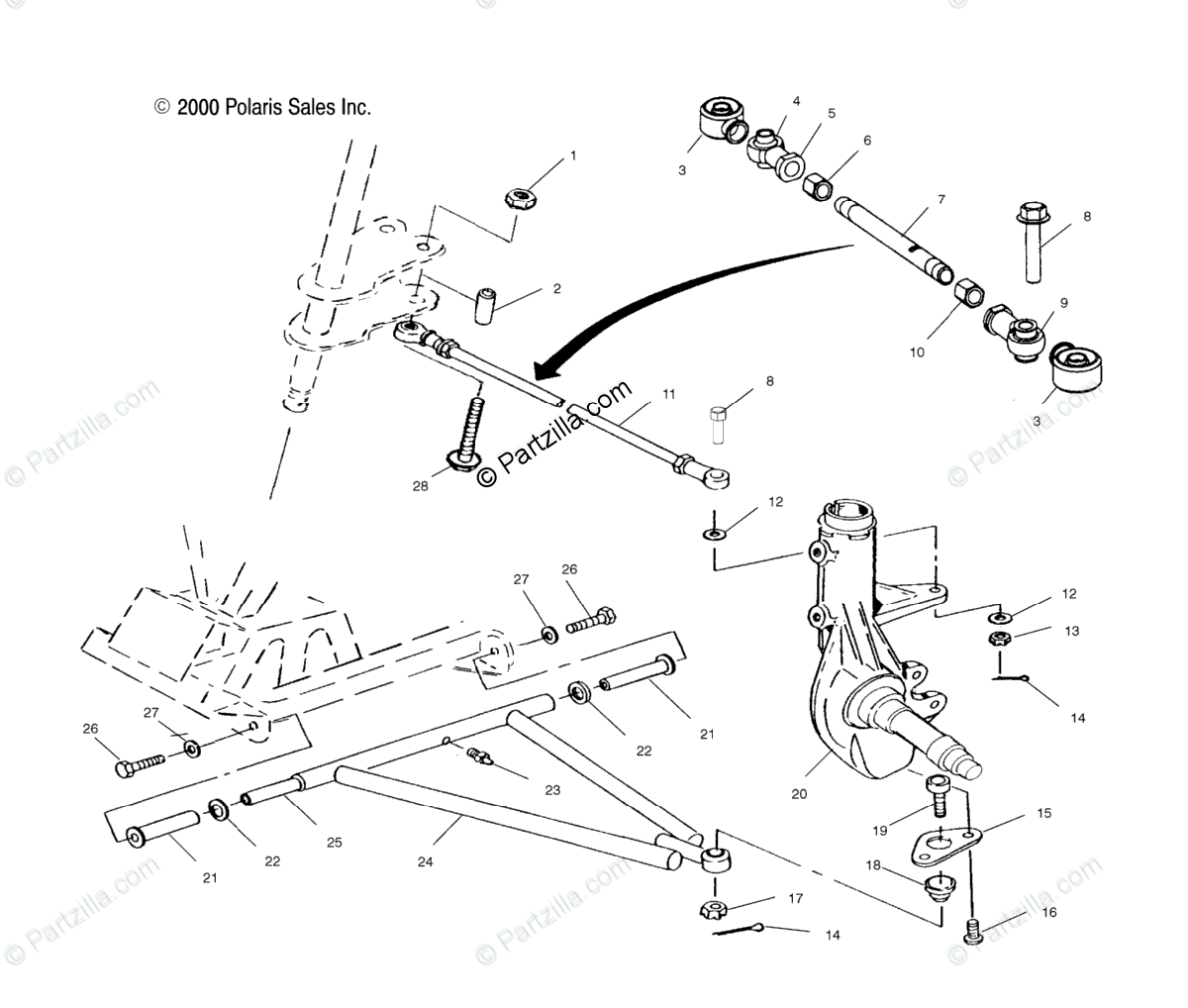 Polaris ATV 2001 OEM Parts Diagram for Aarm/Strut Mounting