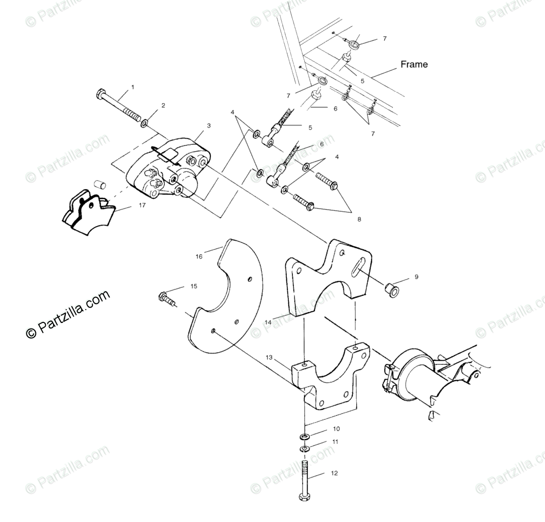 Polaris Atv Oem Parts Diagram For Rear Caliper