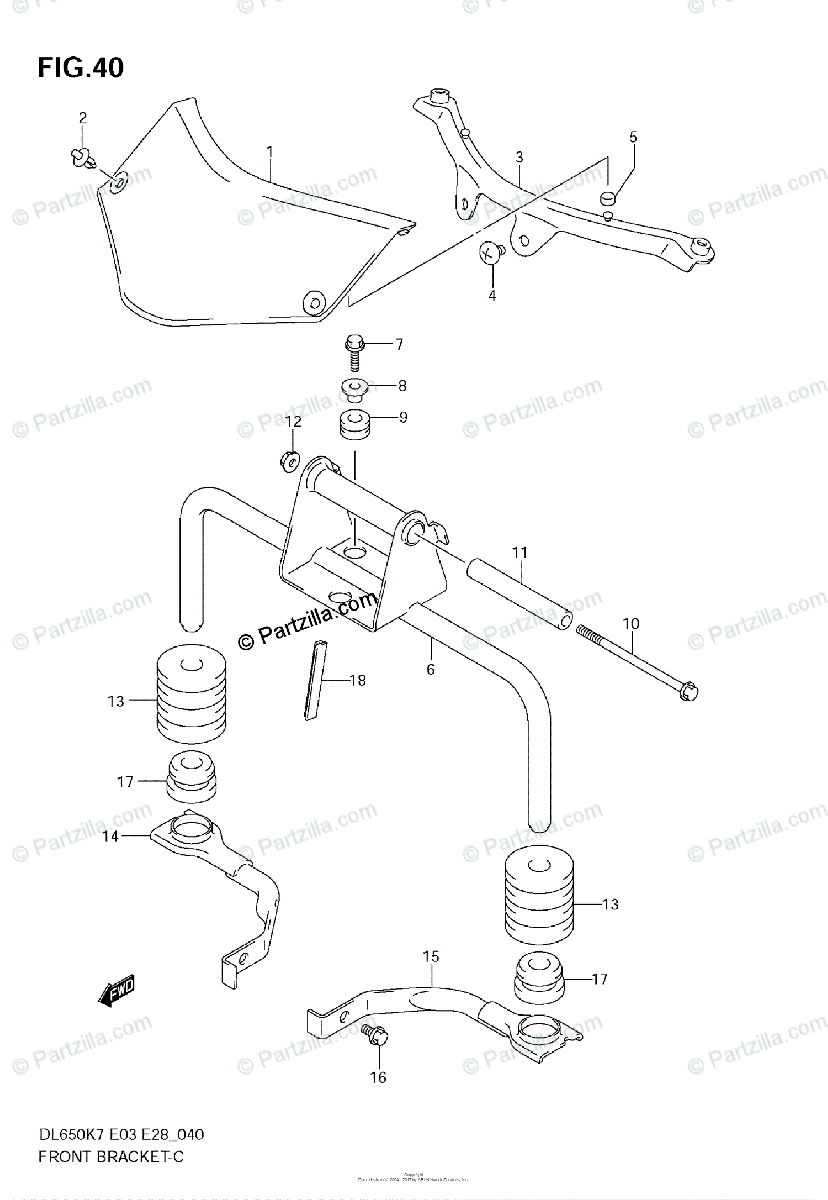 Suzuki Motorcycle 2007 OEM Parts Diagram for Front Bracket