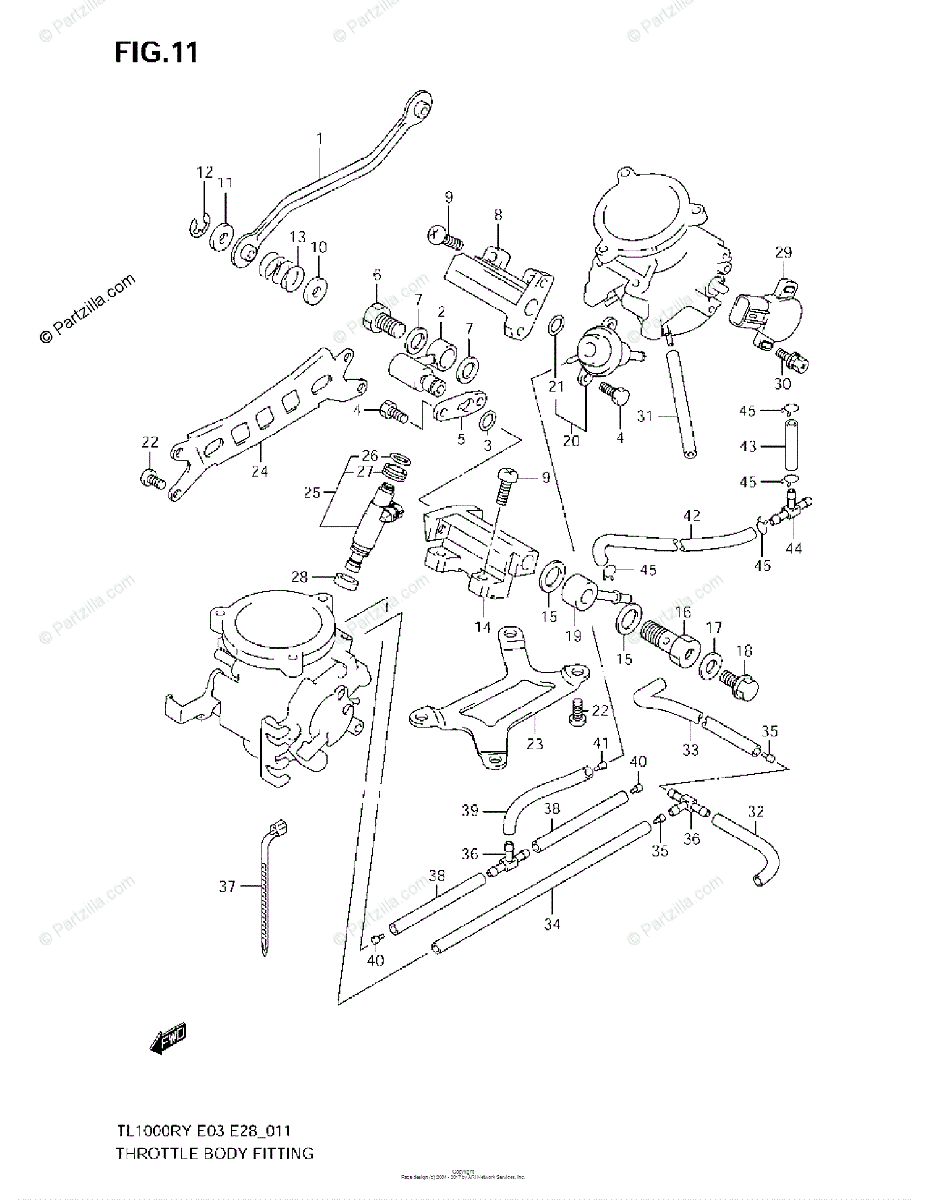 Suzuki Motorcycle 2001 OEM Parts Diagram for THROTTLE BODY