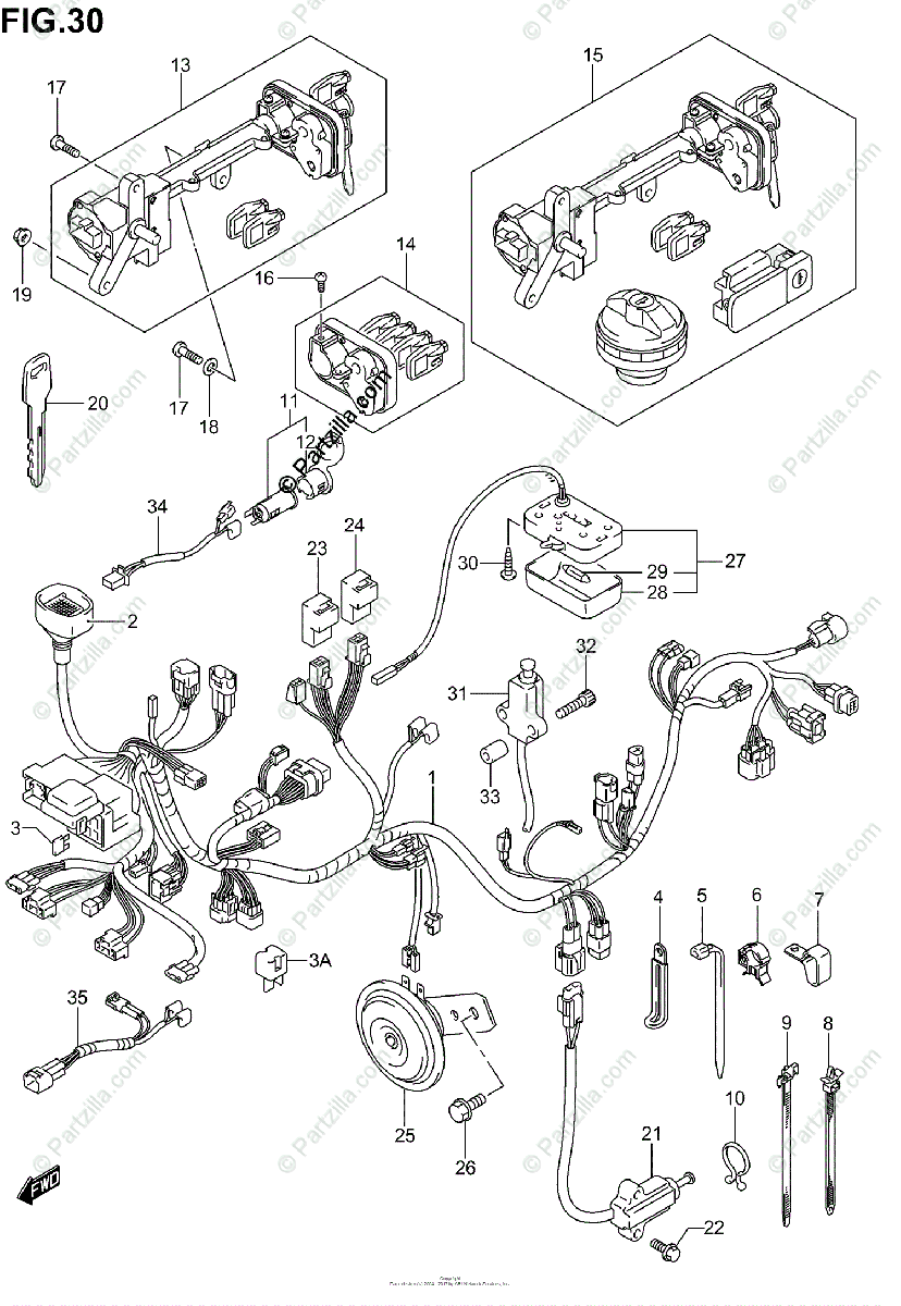 Suzuki Scooters 2003 OEM Parts Diagram for Wiring Harness
