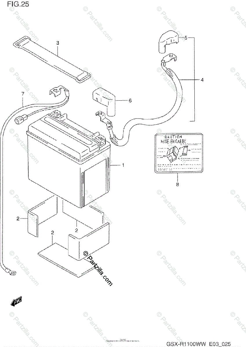 Suzuki Motorcycle 1994 OEM Parts Diagram for Battery