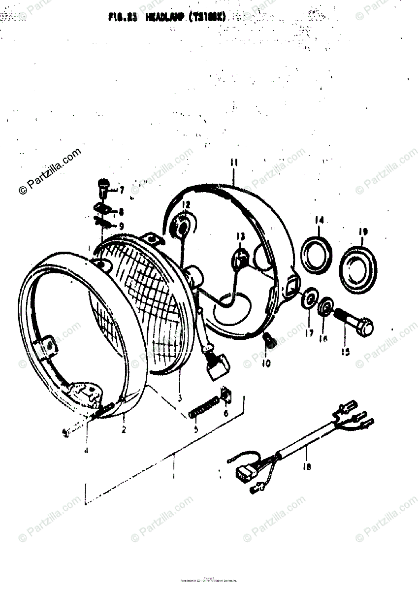 Suzuki Motorcycle 1973 OEM Parts Diagram for HEADLAMP