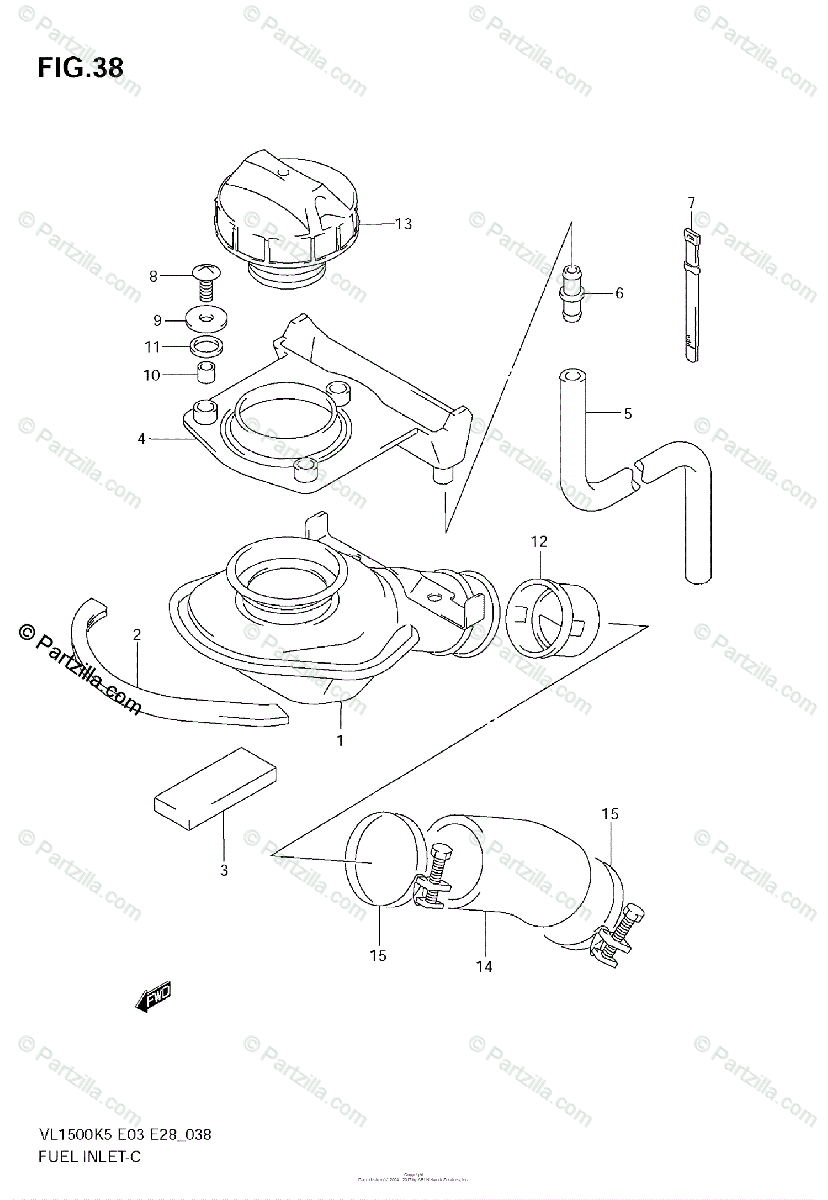Suzuki Motorcycle 2005 OEM Parts Diagram for Fuel Inlet