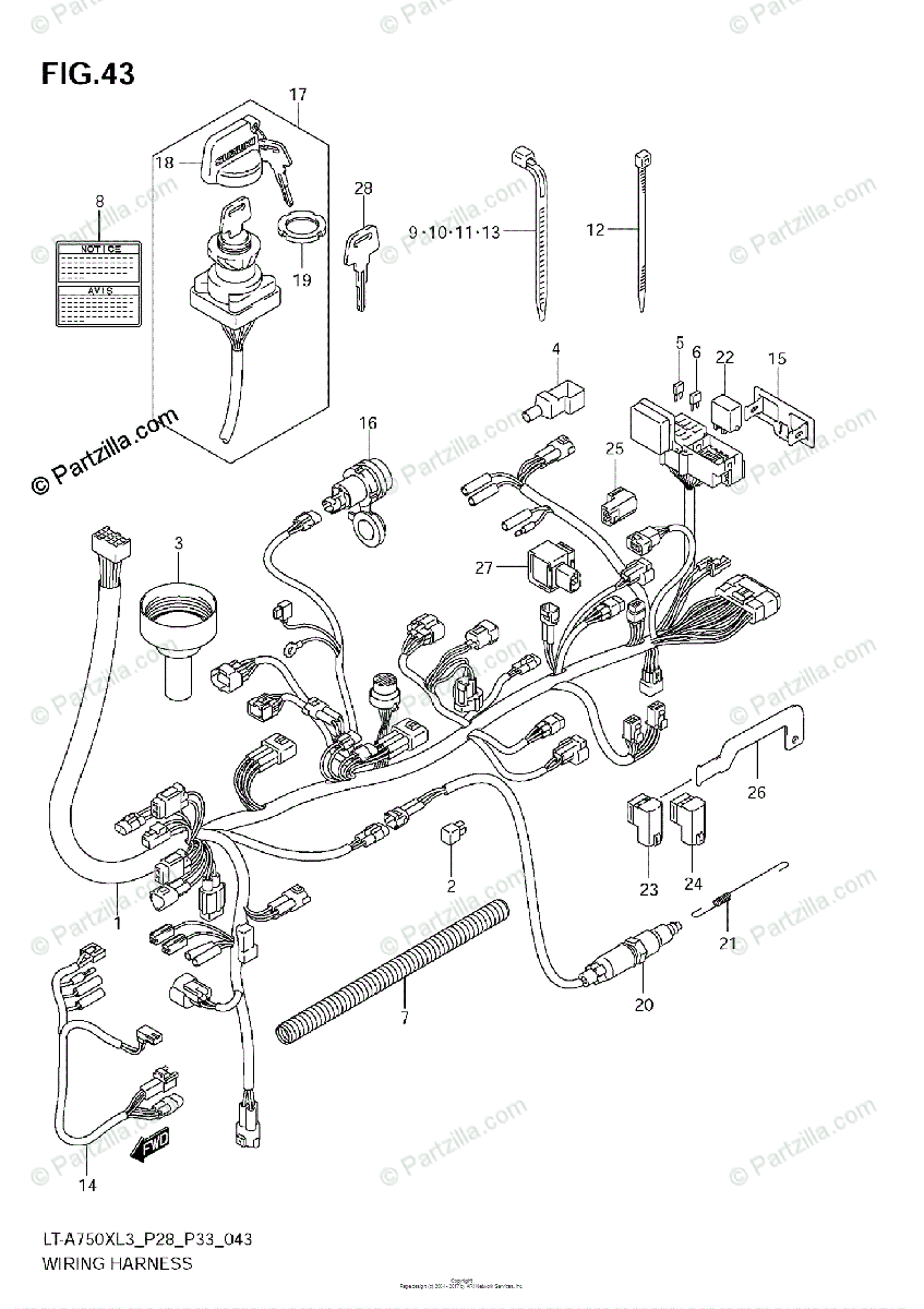Suzuki ATV 2013 OEM Parts Diagram for Wiring Harness (LT
