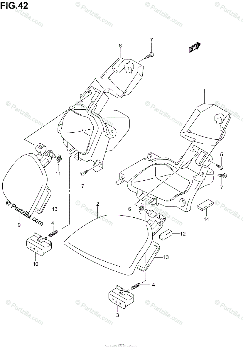 Suzuki Scooter 2003 OEM Parts Diagram for Front Panel Box