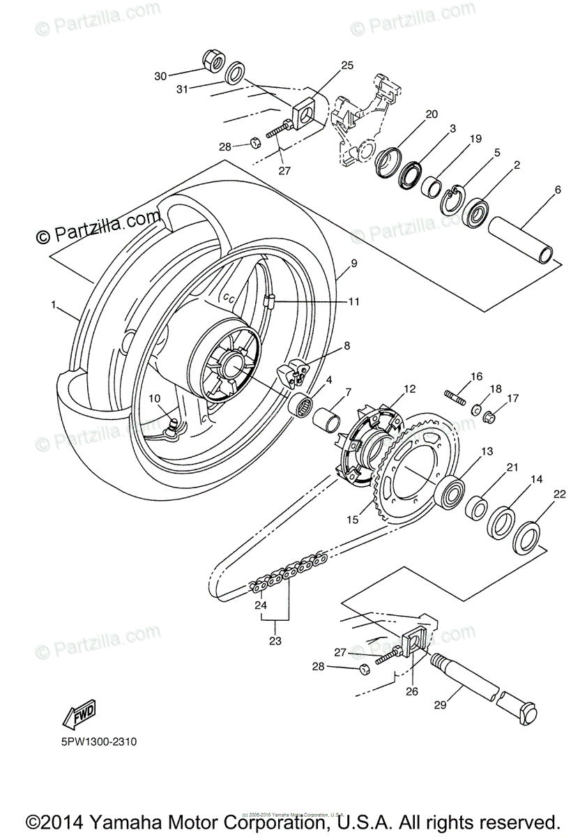 Yamaha Motorcycle 2003 OEM Parts Diagram for Rear Wheel