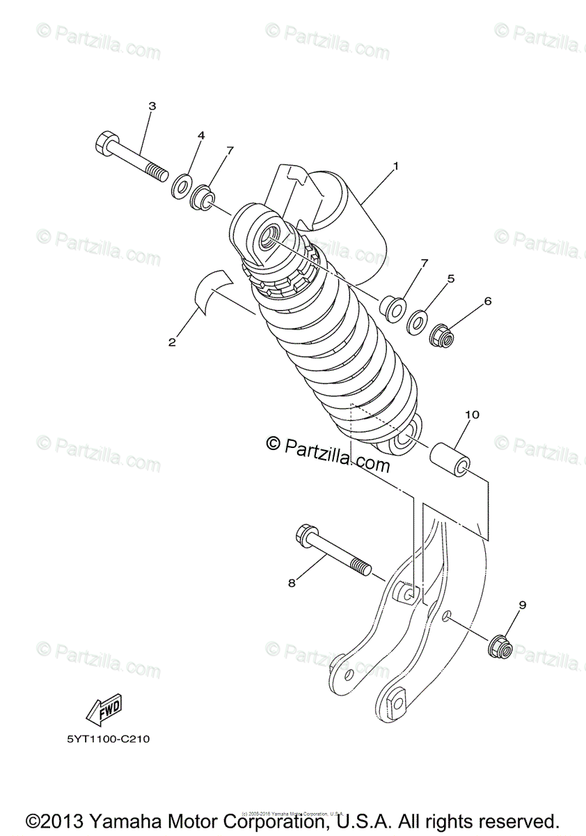 Yamaha ATV 2005 OEM Parts Diagram for Rear Suspension