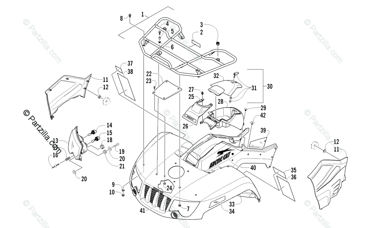 Arctic Cat ATV 2010 OEM Parts Diagram for Front Rack, Body