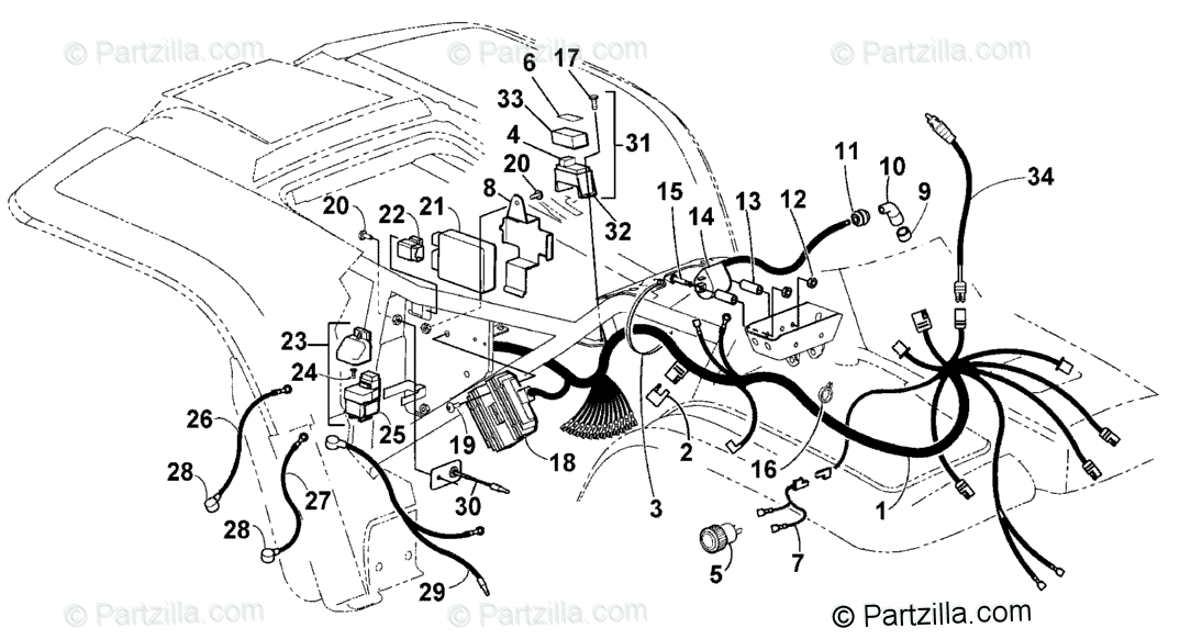 Arctic Cat ATV 2001 OEM Parts Diagram for Wiring Harness
