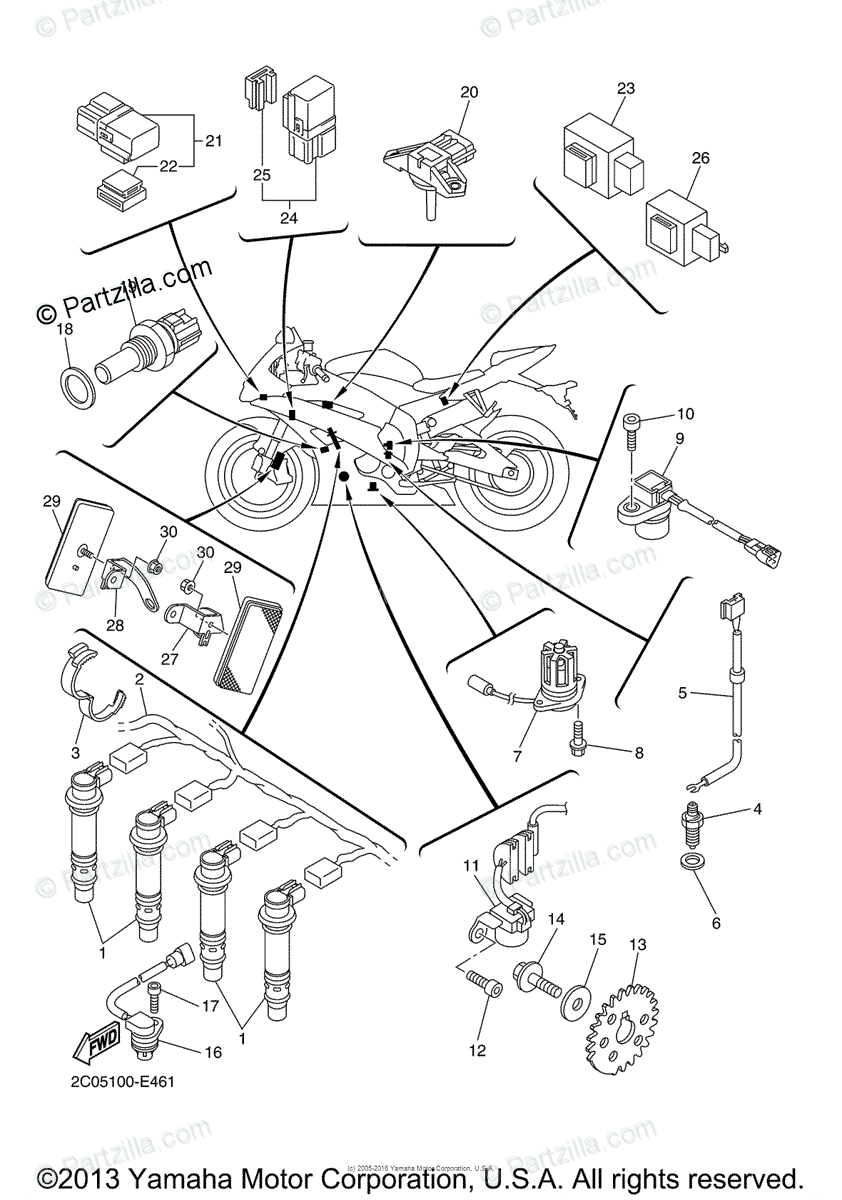 Yamaha Motorcycle 2006 OEM Parts Diagram for Electrical